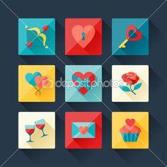 Свадьба и день Святого Валентина иконки в стиле плоский дизайн — стоковая иллюстрация #36816863