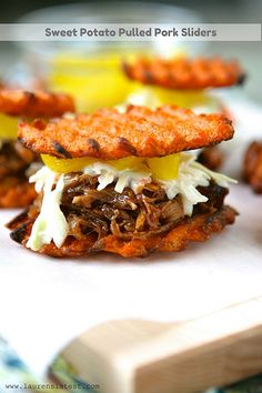 Sweet Potato Pulled Pork Sliders - I made these for a Super Bowl party. Just used sweet potato and pulled pork - so fun! Pork Recipes, Paleo Recipes, Real Food Recipes, Cooking Recipes, Potato Recipes, Lunch Recipes, Free Recipes, Recipies, Slider Recipes
