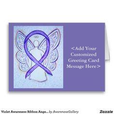 Violet Awareness Ribbon Angel Custom Greeting Cards or Notecards