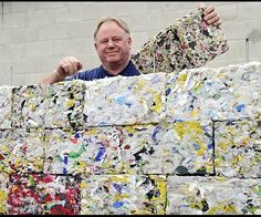Peter Lewis has created an innovative machine that can transform discarded plastic like bottles and bags into building blocks. The rock-hard bricks could be used for garden retaining landscaping walls or other interesting uses such as shock absorbers behind crash barriers.