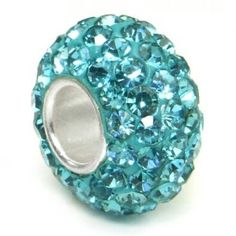 Swarovski aquamarine light blue crystal ball bead sterling silver charm