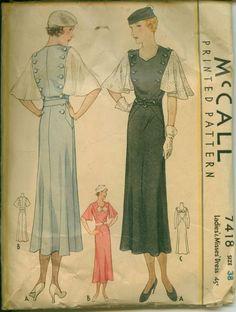 McCall 7418   1933 Ladies' & Misses' Dress