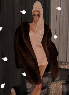 Style Glamour Elegance Fur Long Coat Brown