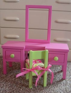 Dressing Table Vanity for American Girl Doll or 18-inch Doll