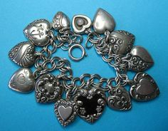 Vintage Sterling Silver Puffy Heart Charm Bracelet & Padlock
