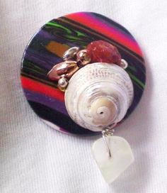 OOAK Brooch Badge Upcycled back Polymer clay button Vintage beads Sea shell Carnelian quartz FUNKY by Orchid's Orchard by OrchidsOrchard for $15.00