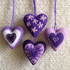 Christmas heart ornaments Purple, Lavender, and White felt hearts Set of four by Lucismiles on Etsy Christmas Hearts, Felt Christmas Ornaments, Felt Decorations, Valentine Decorations, Valentine Heart, Valentine Crafts, Felt Embroidery, Felt Patterns, Heart Ornament