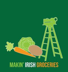 In New Orleans, we don't buy groceries, we make them. And at a St. Patrick's Day parade, we make Irish groceries. And of course, a parade ladder is our shopping cart.  $0.00