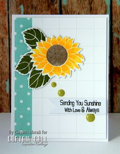 Curtain Call Inspiration Challenge: Sunflower Surprise. Card by Gayatri Murali using stamps and dies by Clearly Besotted Stamps.