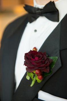 Marsala Wedding Boutonniere