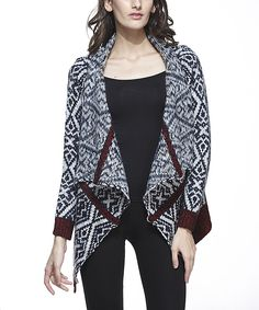 Black Tribal Wool-Blend Open Cardigan // so cozy