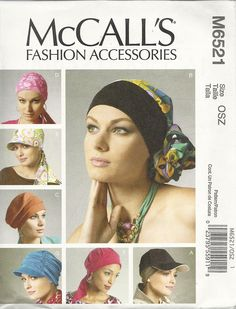 M6521 Headband, head wraps and hats. Most needing around 1 yd. Medium weight moderate stretch knits.  99c in sale.