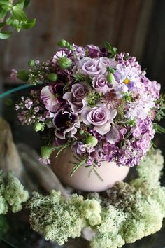 Beautiful Lilac, Pansy, & Rose Bouquet