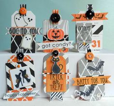 Creative Palette: Countdown to Confetti - Spooky Sentiments and Spooky Cuties- halloween tags Halloween Tags, Halloween Paper Crafts, Halloween Scrapbook, Holidays Halloween, Happy Halloween, Halloween Decorations, Halloween Banner, Countdown, Handmade Tags