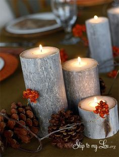 Do it yourself wood log tea lights from Cindy Hopper www.skiptomylou.org  #lowescreator
