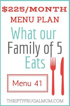 Not sure what to eat on a tight budget? Heres the menu that our family of 5 enjoys- includes links to simple, easy, healthy recipes. via Thrifty Frugal Mom Cheap Meal Plans, Cheap Easy Meals, Inexpensive Meals, Cheap Dinners, Frugal Meals, Budget Meals, Cheap Recipes, Frugal Recipes, Cheap Food