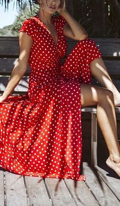 I want to go on holiday in this beautiful red polka dot maxi dress so much