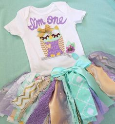 Owl 1st Birthday outfit baby Girl Purple mint gold by RockabyeJoss