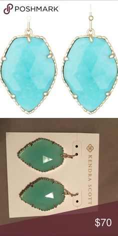 "Kendra Scott Corley Earring •	14K Gold Plated Over Brass • Size: 1.31""L x 1""W on earwire •	Material: chalcedony translucent glass Kendra Scott Jewelry Earrings"