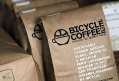 Sustainably harvested coffee beans are what Bicycle Coffee Co., delivers by bicycle on Thursday, Oct. 20, 2011, in San Francisco, Calif. Pho...