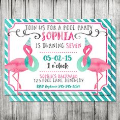 Watercolor Flamingo Pool Party Birthday by CherryBerryDesign