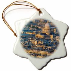 3dRose Setting sunlight over the Pantheon and the buildings of Paris, France., Snowflake Ornament, Porcelain, 3-inch
