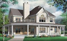 W3832 - 4 Bedroom Country House Plan, 3-car Garage And Wrap Aound Porch
