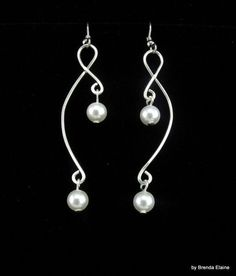 Sculpted Wire Earrings with Pearls by byBrendaElaine on Etsy,