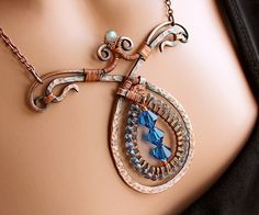 Harlequin Copper Teardrop Necklace close by Ruth Jensen, via Flickr