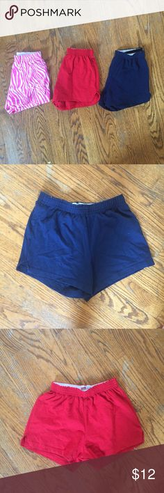 Bundle of 3 soffe shorts! This is a bundle of 3 Soffe shorts! I wore these for cheerleading and soccer! They're all a size XS! There's a navy pair, red and pink zebra print! They're all the exact same fit and style! They're just the regular short soffe shorts! Soffe Shorts