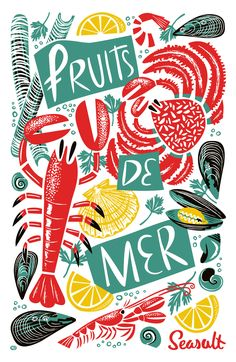 Fruits de Mer seafood tea towel by Matt Johnson for Seasalt Cornwall.  https://www.seasaltcornwall.co.uk/cornish_home/kitchen/teatowels/printed-fun-cornish-tea-towel_fruits_de_mer.htm