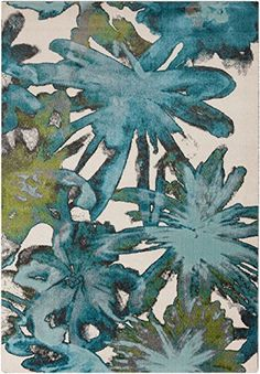 "Surya Country & Floral Rectangle Area Rug 5'2""x7'6"" Teal Aberdine Collection"