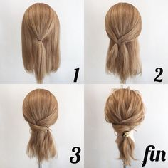Coiffure facile Facile rapideYou can find Blonde brunette and more on our website. Up Dos For Medium Hair, Medium Hair Styles, Curly Hair Styles, Easy Hairstyles For Medium Hair, Medium Hair Updo Easy, Updos For Medium Length Hair Tutorial, Easy Everyday Hairstyles, Hair Styles Steps, Hair Styles Work