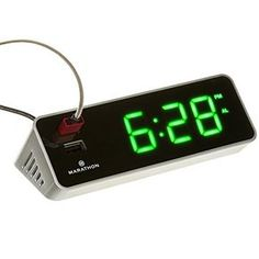 MARATHON CL030055GG LED Alarm Clock with Two Fast Chargin...