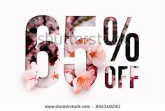 65% off discount promotion sale Brilliant poster, banner, ads. Precious Paper cut with real sakura flowers and leaves. For your unique selling poster / banner promotion offer percent discount ads.