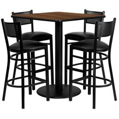 Flash Furniture MD-0015-GG 36'' Square Walnut Laminate Table Set with 4 Grid Back Metal Bar Stools - Black Vinyl Seat