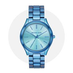 Michael Kors Slim Runway Blue Mk4390 Michael Kors Watch, Iridescent, Runway, Slim, Watches, Cat Walk, Walkway, Wristwatches, Clocks
