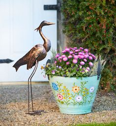 For your first sneak peek, here's a delightful metal heron and tyre planter. Plant your flowers, herbs, or even small-scale vegetables in the planted and the heron will watch out for them! #vegetableplanter #fairtradeplanter #traidcraftspring #traidcraftsummer