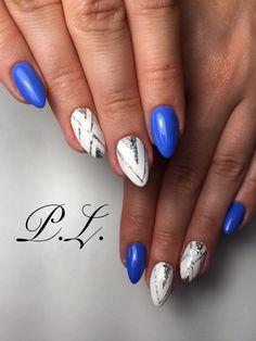 Blue nails, nails design, blue white