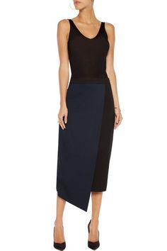 IRIS & INK Wrap-effect stretch-jersey skirt