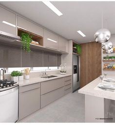 Show de cozinha! Kitchen Wall Units, Kitchen Room Design, Modern Kitchen Cabinets, Home Room Design, Kitchen Cabinet Design, Modern Kitchen Design, Interior Design Kitchen, Kitchen Decor, Beautiful Kitchen Designs