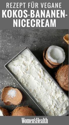 Coconut and banana Nice Cream- Kokos-Bananen-Nicecream This recipe for coconut banana nicecream is a clean eating refreshment for hot days. Vegan ice cream recipes with coconut milk are perfect for the summer. Clean Eating Desserts, Clean Eating Breakfast, Healthy Eating, Eating Clean, Healthy Cooking, Healthy Food, Coconut Milk Recipes, Ice Cream Recipes, Vegan Recipes
