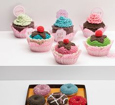 kit nivel intermedio de amigurumi de dmc dulces pastelillos bombones cupcakes de ganchillo