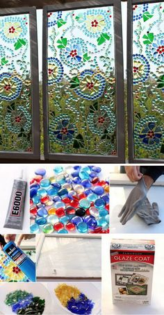 DIY Weekend Projects For Your Home Easy Stained Glass Window Using Glass Floral Marbles.Easy Stained Glass Window Using Glass Floral Marbles. Faux Stained Glass, Stained Glass Windows, Fused Glass, Painting On Glass Windows, Glass Beads, Stained Glass Crafts, Glass Marbles, Mason Jar Crafts, Mason Jar Diy