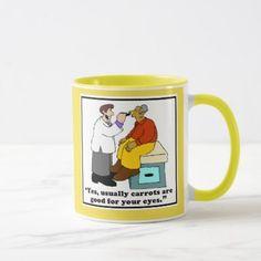 Funny Doctor Mug or Optometrist Mug - Carrot Comic - home gifts ideas decor special unique custom individual customized individualized