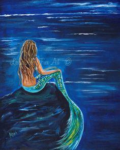 Mermaid ART PRINT GICLEE Mermaids Blonde by LeslieAllenFineArt