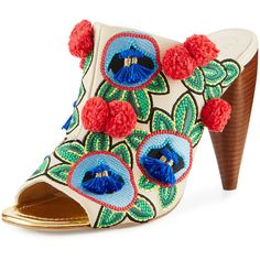 Tory Burch Ellis Embroidered Leather Mule ($395) ❤ liked on Polyvore featuring shoes, beige, beige shoes, leather slip on shoes, pom pom shoes, open toe shoes and slip on mules