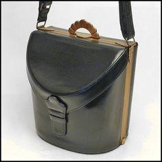 Vintage bag - 40\'s EVANS black leather vintage box handbag with accessories, purse, bag, hand bag, boxbag, box bag, pocketbook,