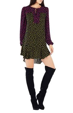 BCBGMAXAZRIA 'Dinah' Polka Dot Georgette Trapeze Dress available at #Nordstrom