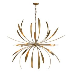 Dahlia 32 Inch 6 Light Chandelier - Chain-hung starburst pendant chandelier with forged steel petals, exposed bulb sockets and finish options. Exposed Bulb, Bronze, Iron Lighting, Large Pendant, Large Chandeliers, Hubbardton Forge, Dahlia Chandelier, Pendant Chandelier, Ceiling Lights